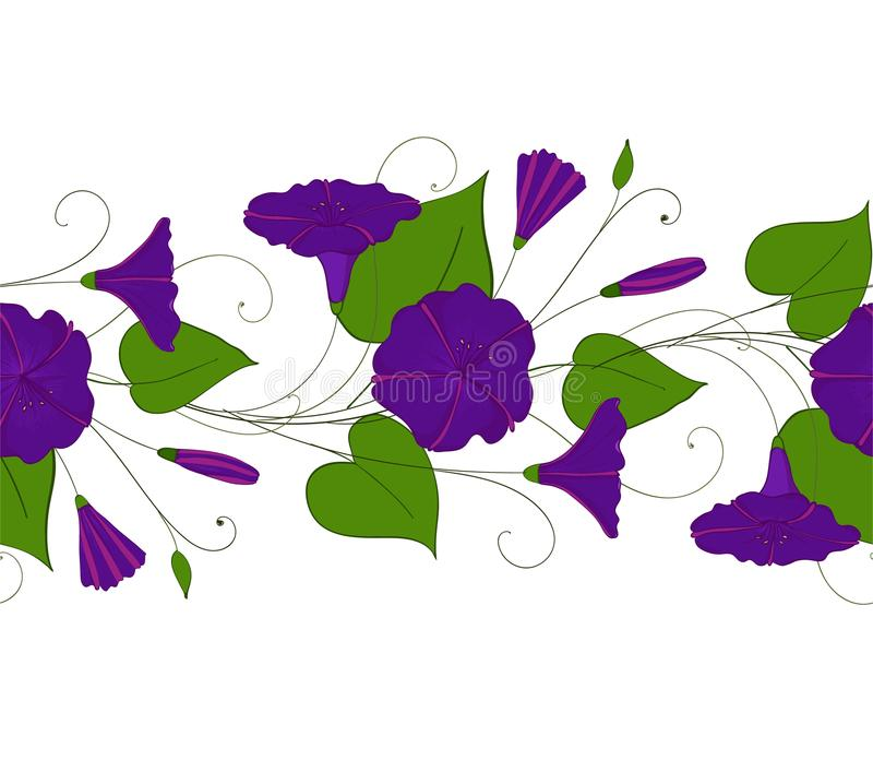 Naadloos patroon van blauwe winde Slinger met windebloemen Ochtend-glorie elegant ornament Bloemen eindeloos stock illustratie