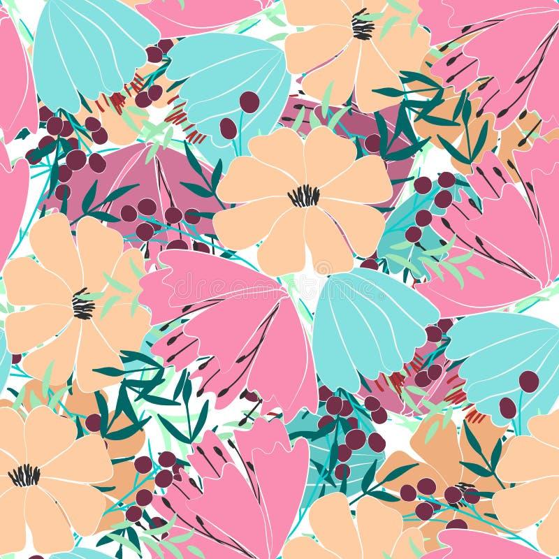 Naadloos patroon van bloemen, bessen, bladeren en takjes van fantasieinstallaties Vector stock illustratie