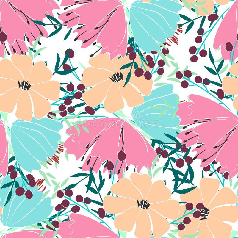 Naadloos patroon van bloemen, bessen, bladeren en takjes van fantasieinstallaties Vector vector illustratie