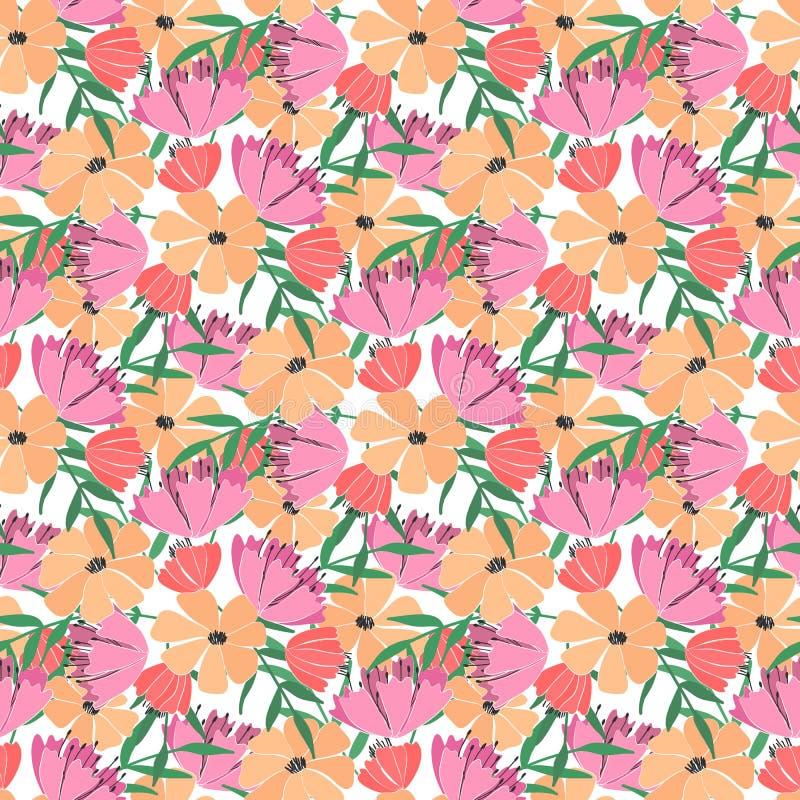 Naadloos patroon van bloemen, bessen, bladeren en takjes van fantasieinstallaties Vector royalty-vrije illustratie