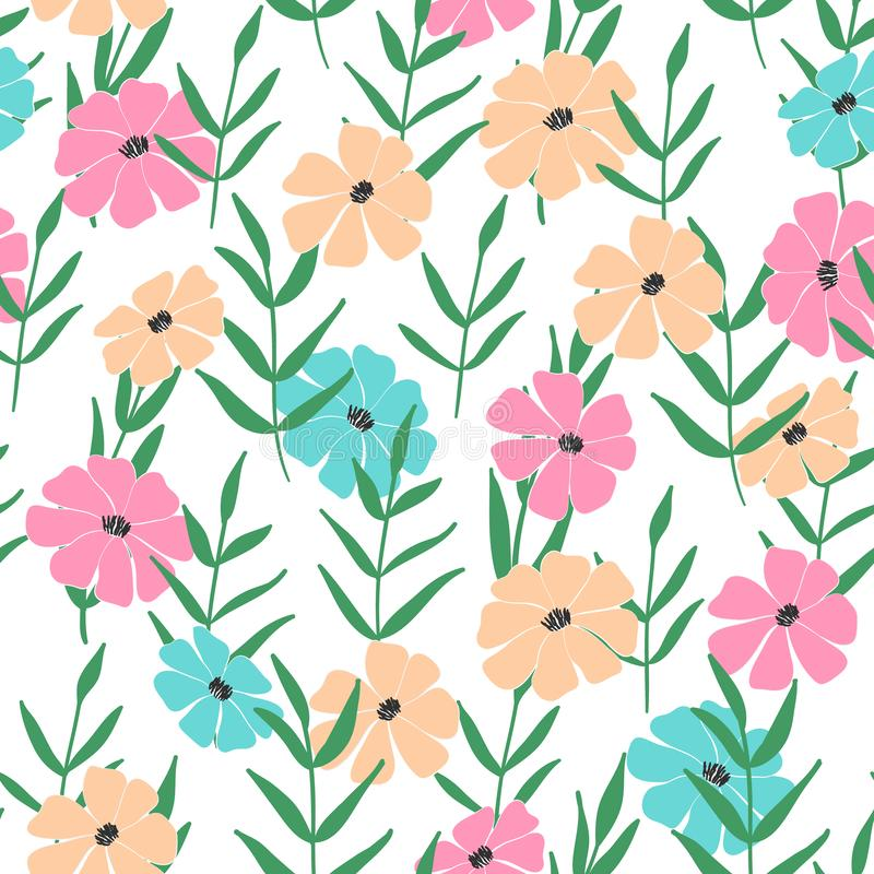 Naadloos patroon van bloemen, bladeren en takjes van fantasieinstallaties Vector stock illustratie