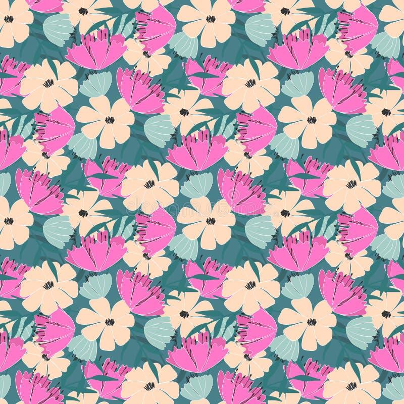 Naadloos patroon van bloemen, bladeren en takjes van fantasieinstallaties Vector vector illustratie