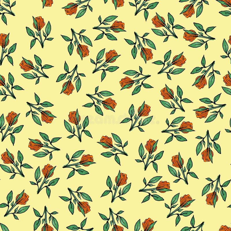 Naadloos patroon van bloemen Druk voor stof en andere oppervlakten Met de hand getrokken bloemen Abstract naadloos patroon op een stock illustratie