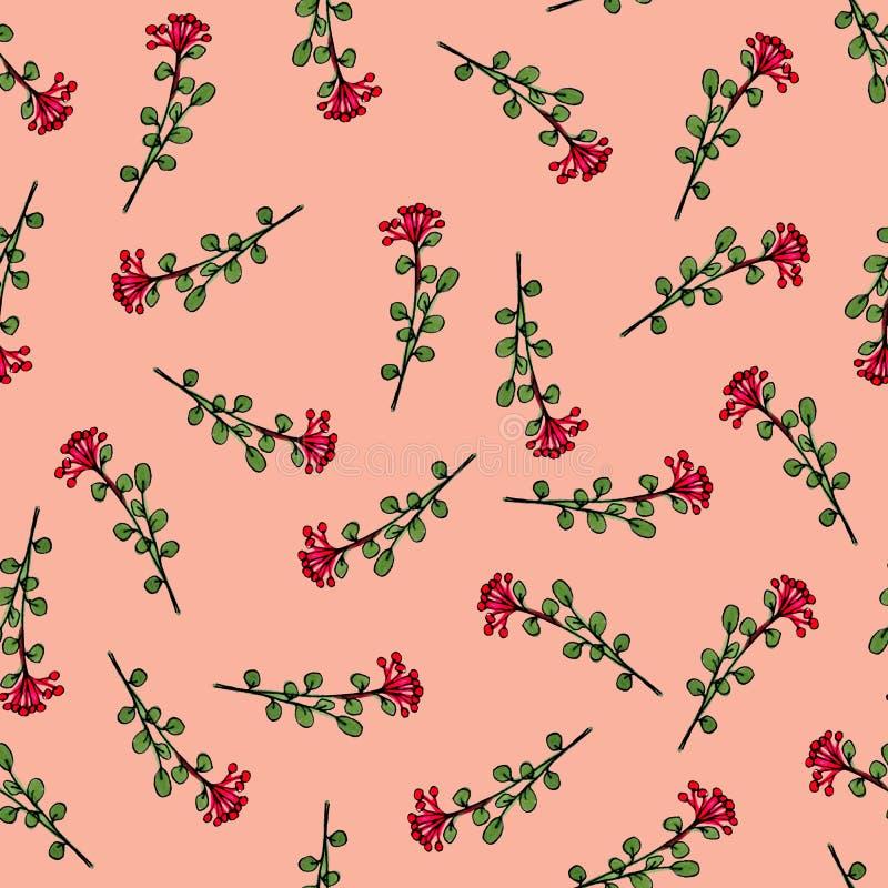 Naadloos patroon van bloemen Druk voor stof en andere oppervlakten Met de hand getrokken bloemen Abstract naadloos patroon op roz stock illustratie