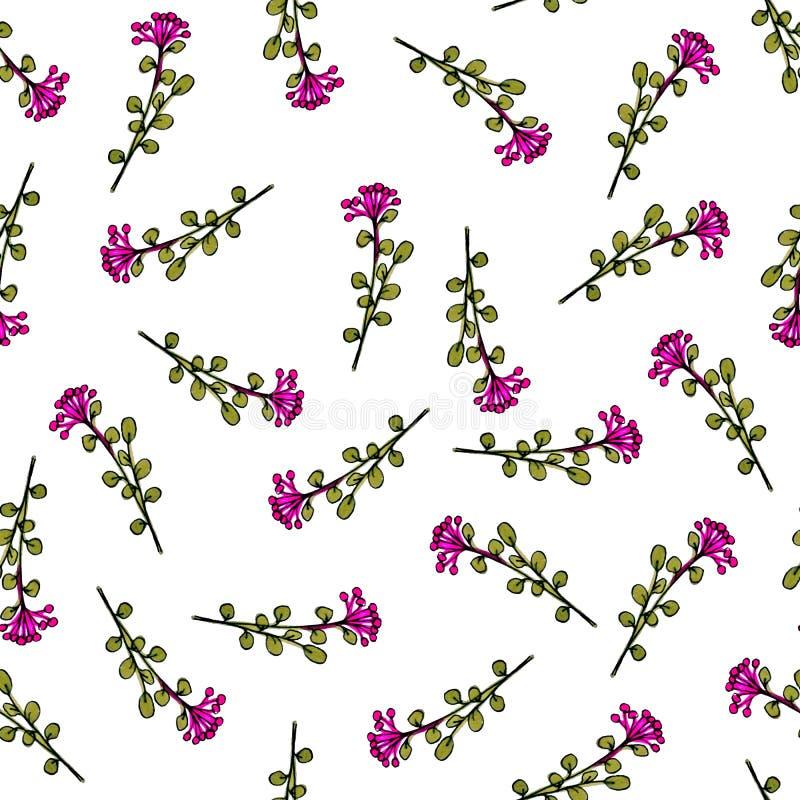 Naadloos patroon van bloemen Druk voor stof en andere oppervlakten Met de hand getrokken bloemen Abstract naadloos patroon op wit stock illustratie