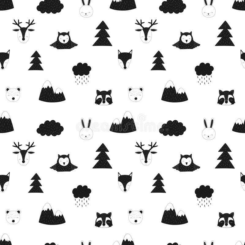 Naadloos patroon van bosdieren De vector Skandinavische hand-drawn kinderenillustratie van vos, herten, draagt, hazen, wasbeer, u stock illustratie
