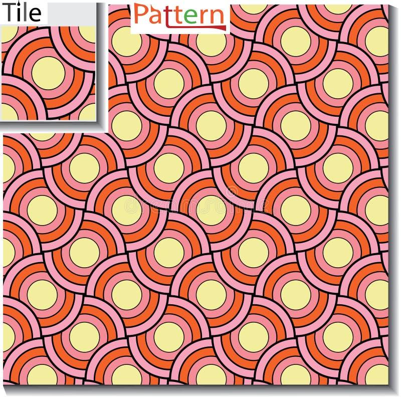 Naadloos patroon van cirkelringen of schijven die worden overlapt vector illustratie