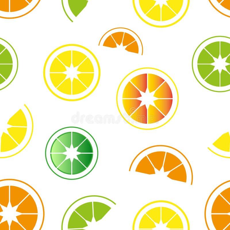 Naadloos patroon van citrusvruchten, sinaasappelen, citroenen en kalk royalty-vrije stock foto