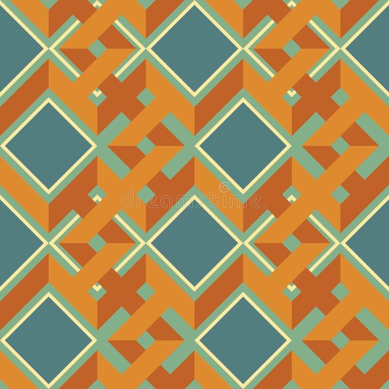 Naadloos patroon van complexe verweven zigzaglijnen en vierkanten royalty-vrije illustratie