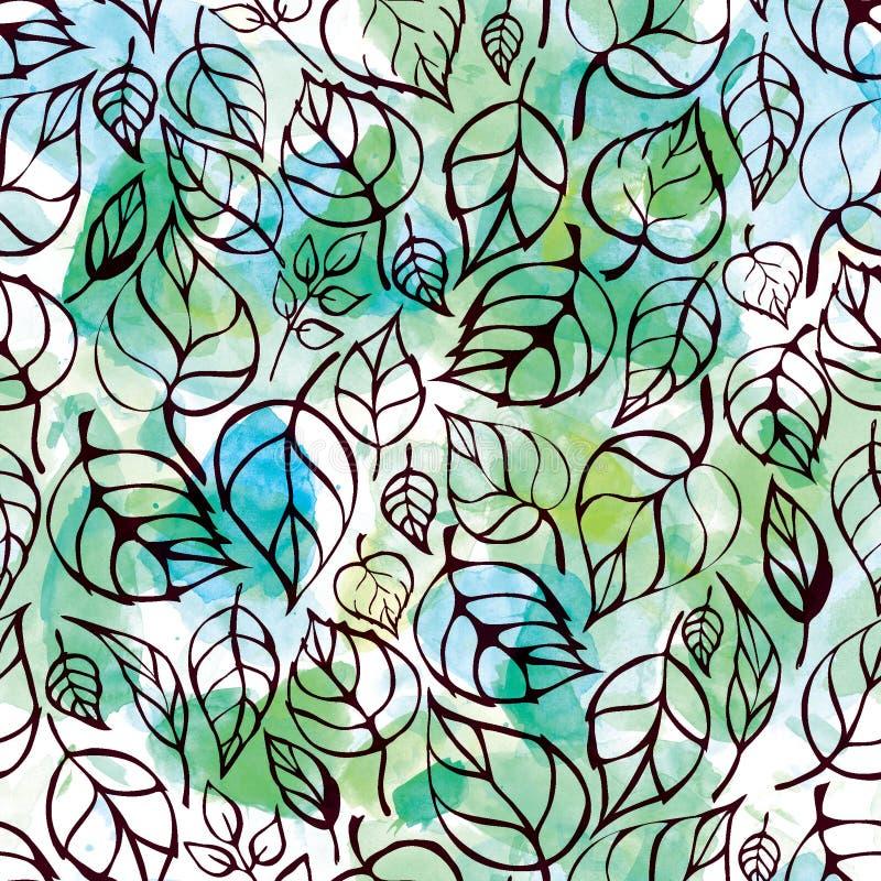 Naadloos patroon van contourbladeren op abstracte waterverfachtergrond stock illustratie