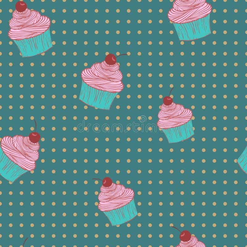 Naadloos patroon van cupcakes stock illustratie