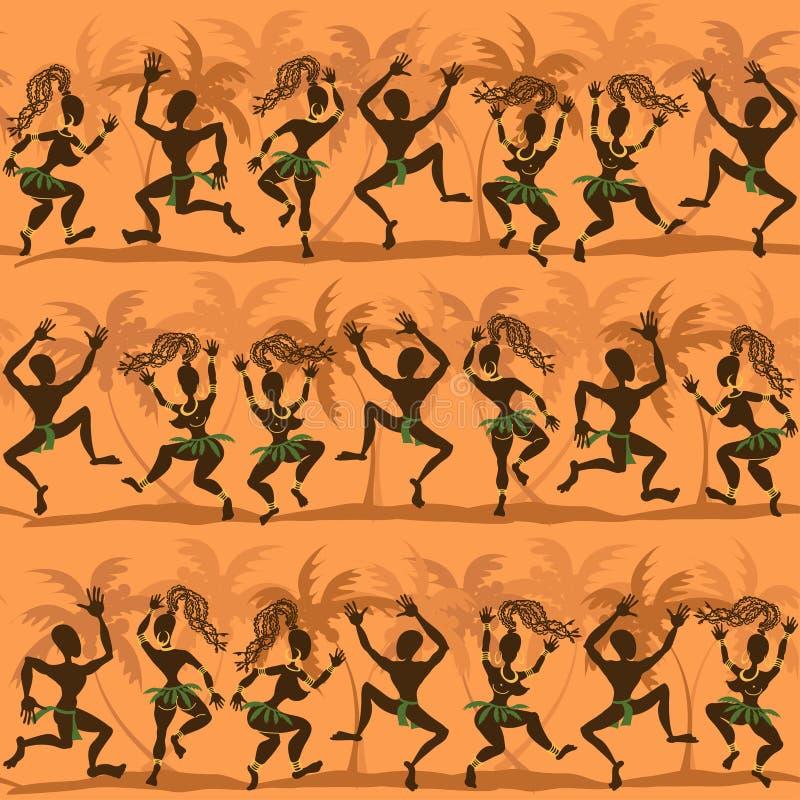Naadloos patroon van dansende Afrikaanse inboorlingen vector illustratie