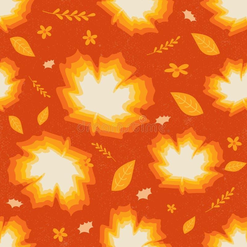 Naadloos patroon van de bladeren vectorillustratie van de esdoornherfst in o stock illustratie