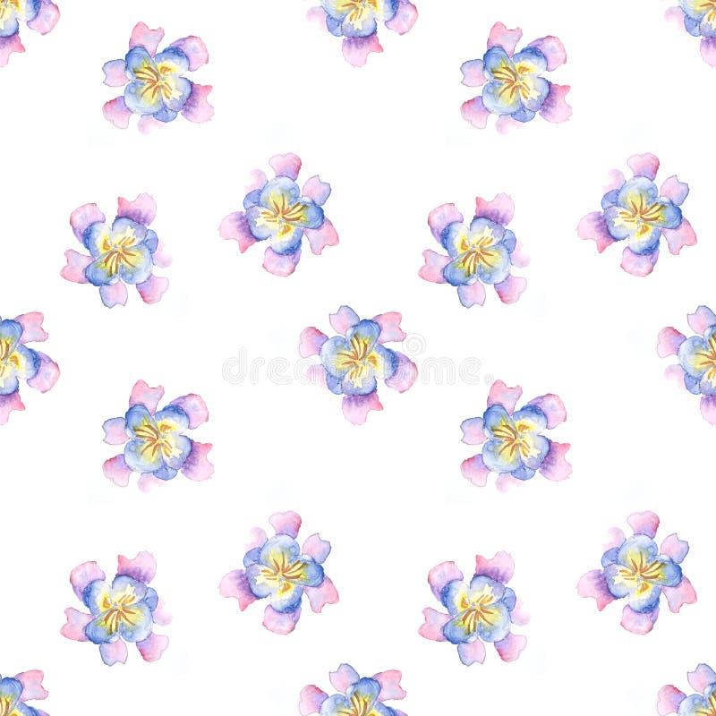 Naadloos patroon van de bloemen van het waterverf purper-blauw vector illustratie