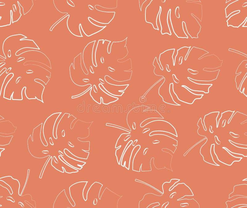 Naadloos patroon van de contour van het monsterablad royalty-vrije illustratie