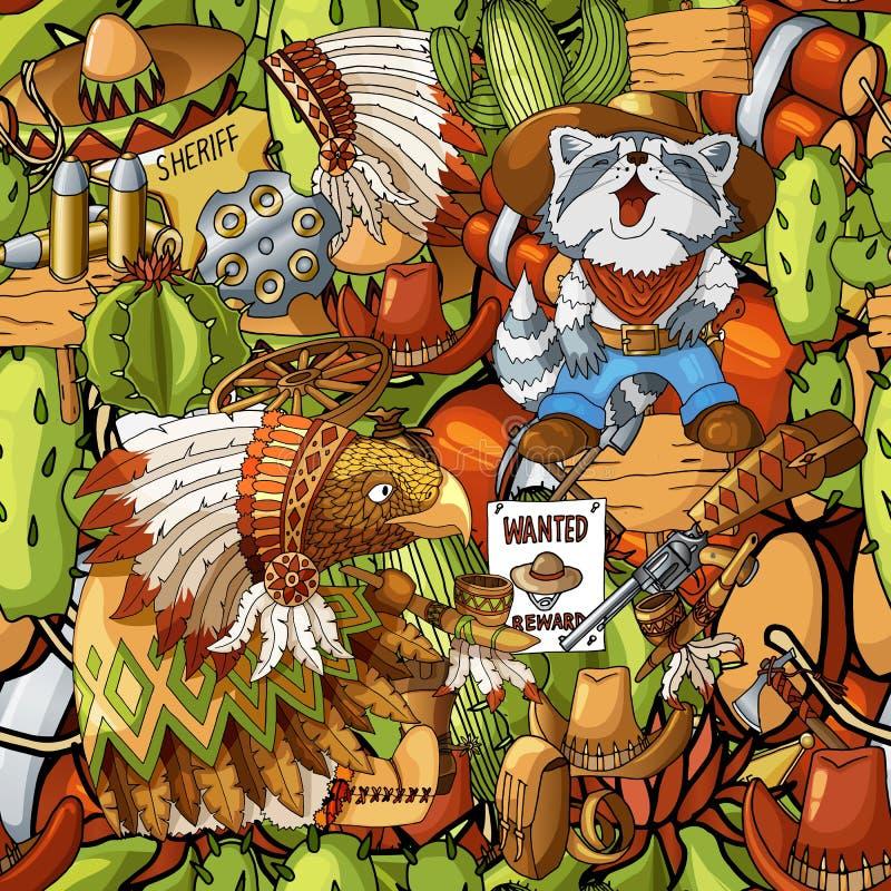 Naadloos patroon van de hand getrokken wilde Indische gevulde pictogrammen van de het westen Amerikaanse cowboy vector illustratie