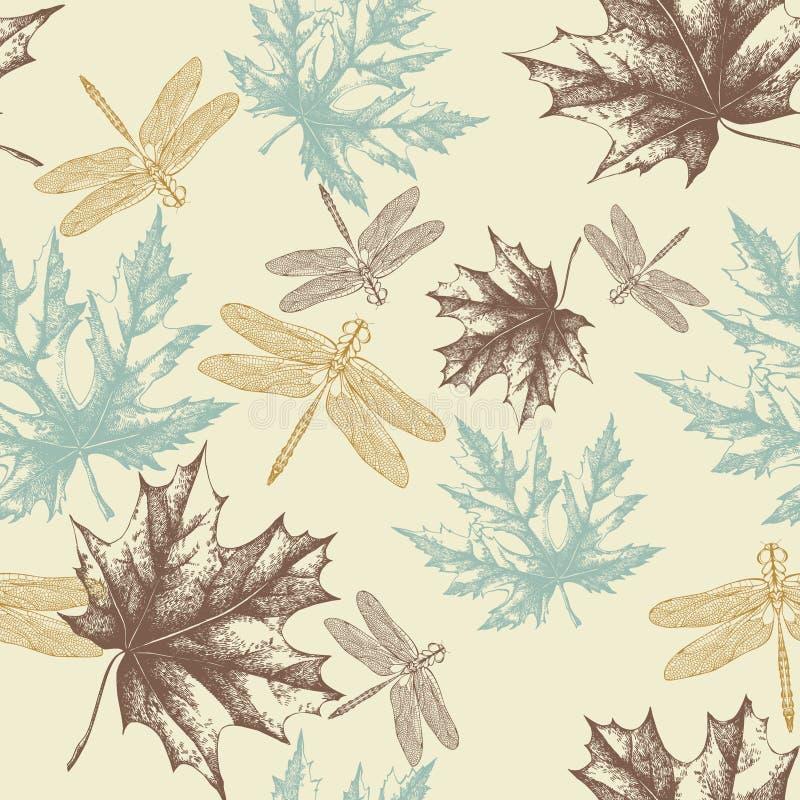 Naadloos patroon van de herfst, esdoornbladeren en dra stock illustratie