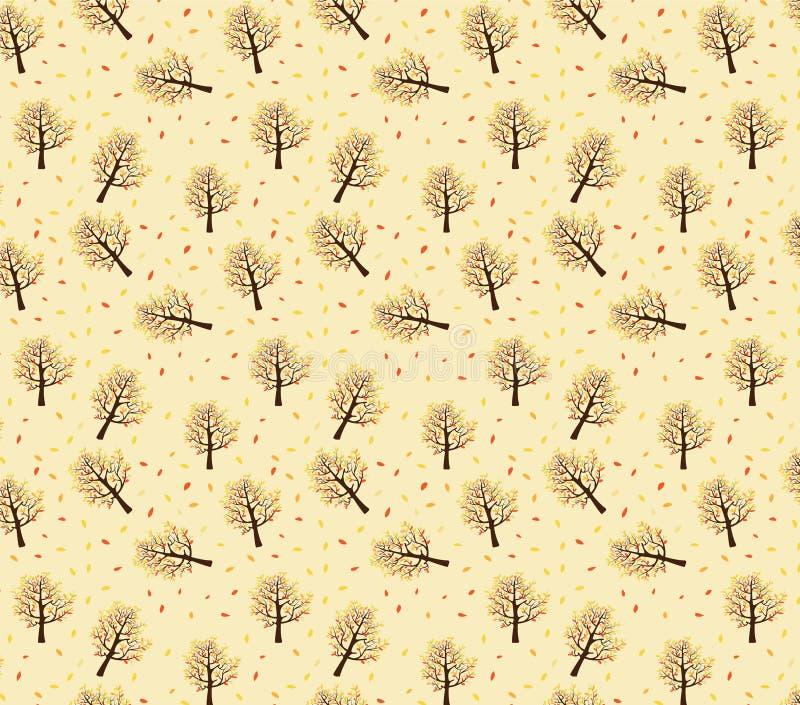 Naadloos patroon van de herfstbomen met bladeren die op gele achtergrond vallen royalty-vrije stock foto's