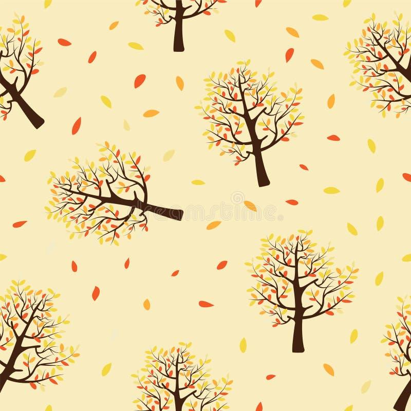 Naadloos patroon van de herfstbomen met bladeren die op gele achtergrond vallen royalty-vrije stock foto