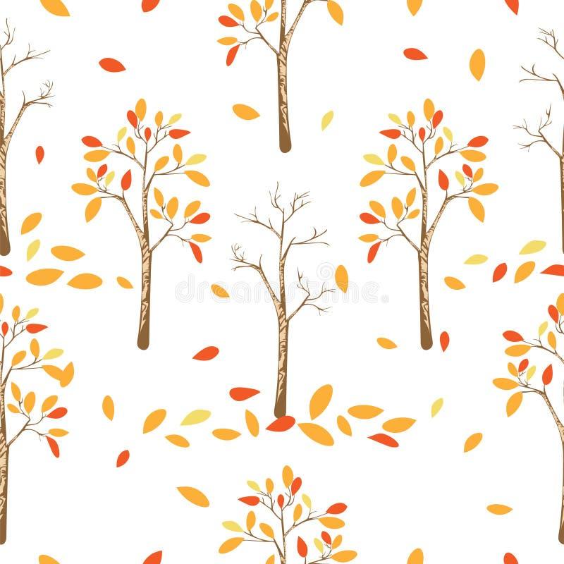 Naadloos patroon van de herfstbomen met bladeren die op witte achtergrond vallen stock afbeeldingen
