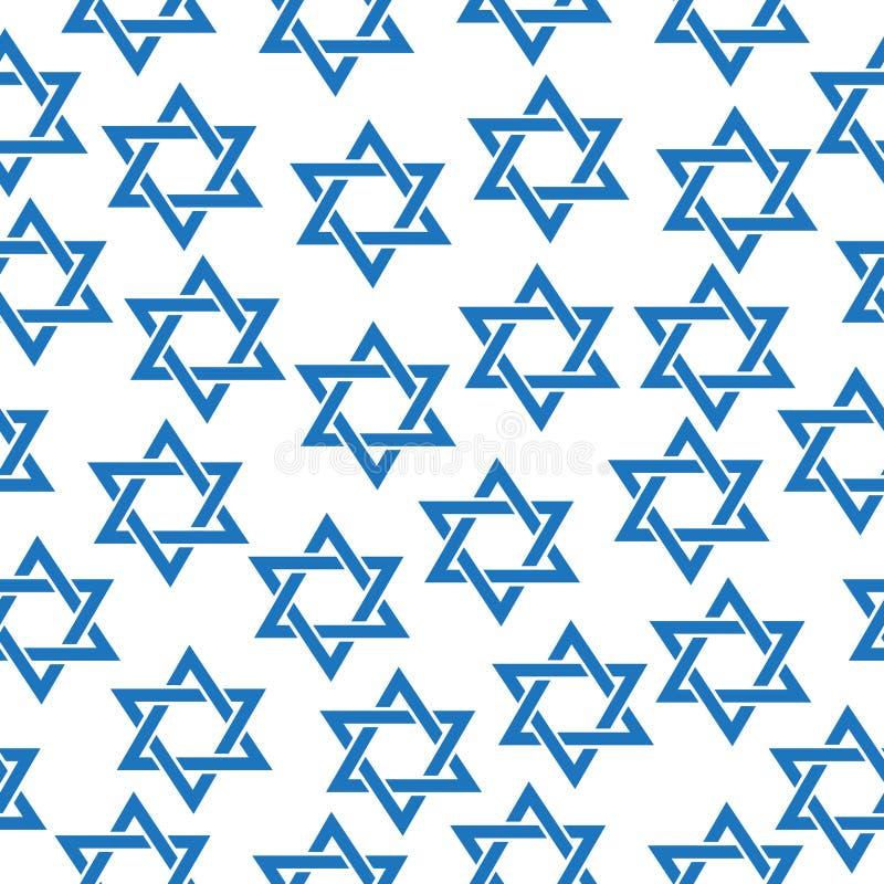 Naadloos patroon van de Jodenster Patroon van de Simfol het Joodse Jodenster, textuur, behang Vector illustratie royalty-vrije illustratie