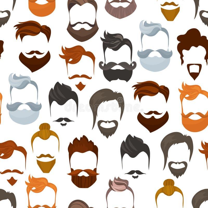 Naadloos patroon van de kapsels van het mensenbeeldverhaal met baarden en snor Modieuze modieuze lumbersexual types of hipsters stock illustratie