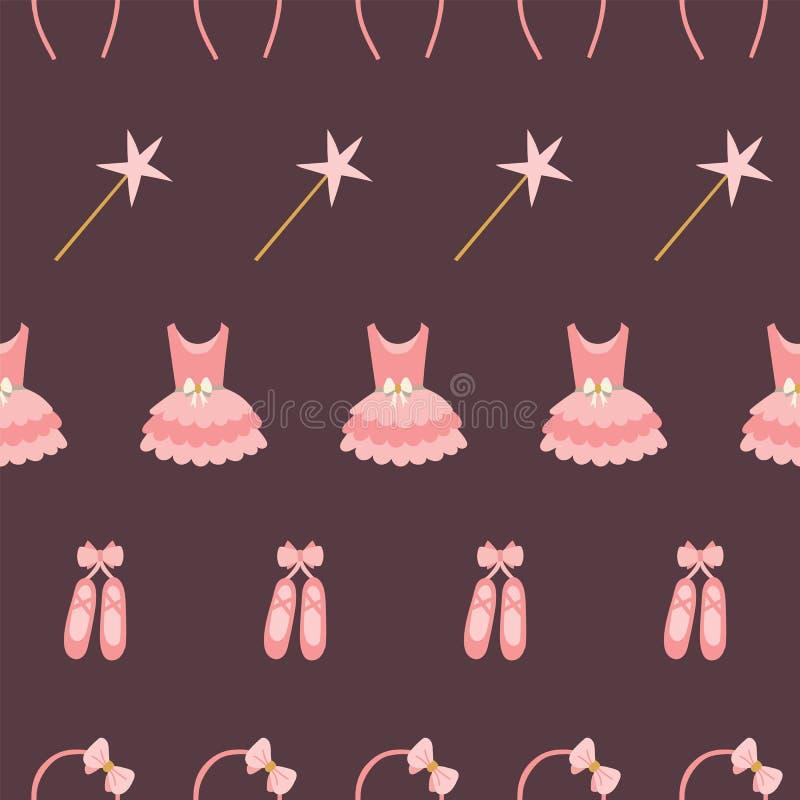 Naadloos patroon van de kleding, de ballerina's, het toverstokje, en de hoofdband van de tutuballerina in rijen op een kastanjebr vector illustratie