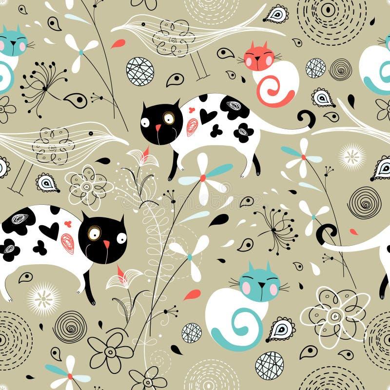 Naadloos patroon van de lente met katten vector illustratie