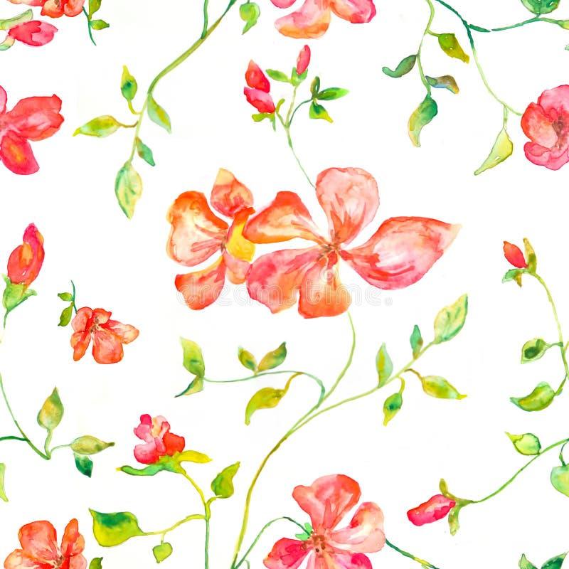Naadloos patroon van de lente rode bloeiende bloemen vector illustratie