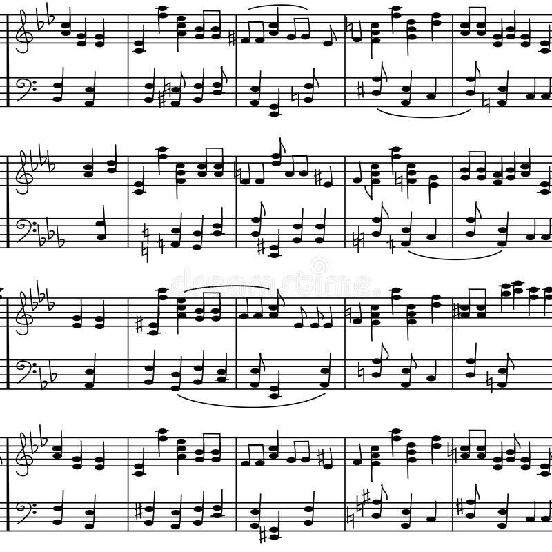 Naadloos patroon van de nota's van de muziekstaaf stock illustratie