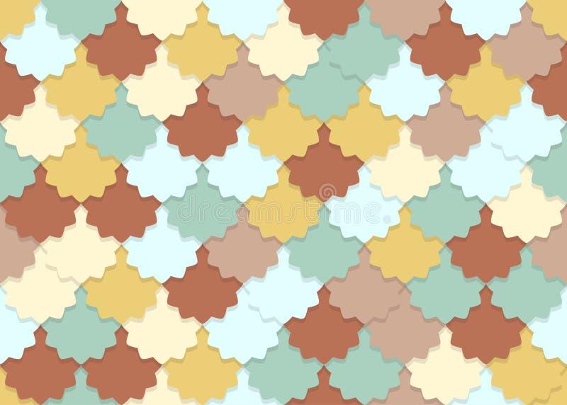 Naadloos patroon van de overlappende pastelkleur van de bloemvorm stock illustratie