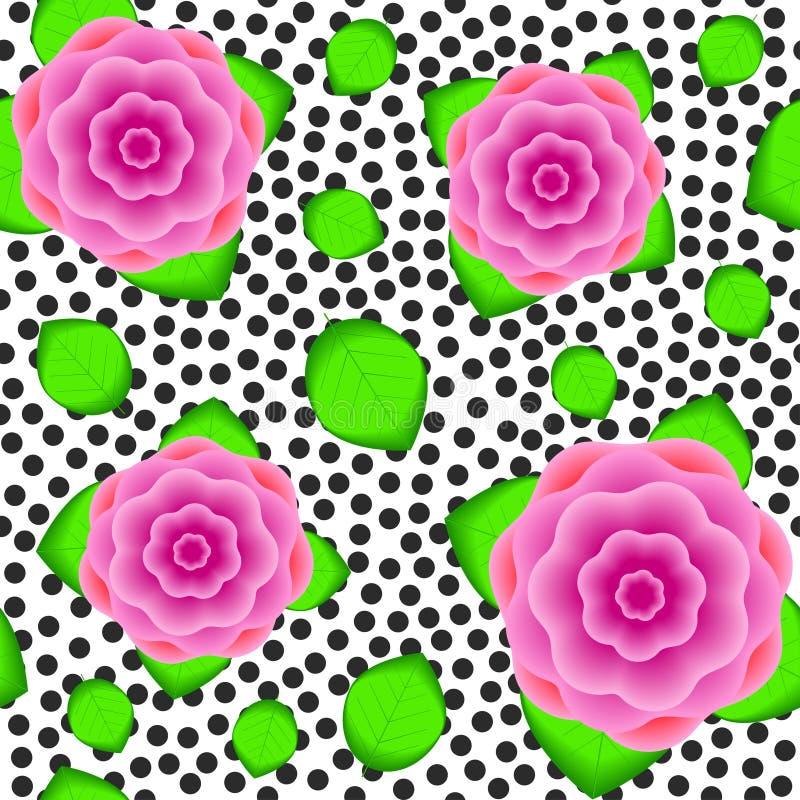 Naadloos patroon van de realistische bloemen en de bladeren royalty-vrije illustratie