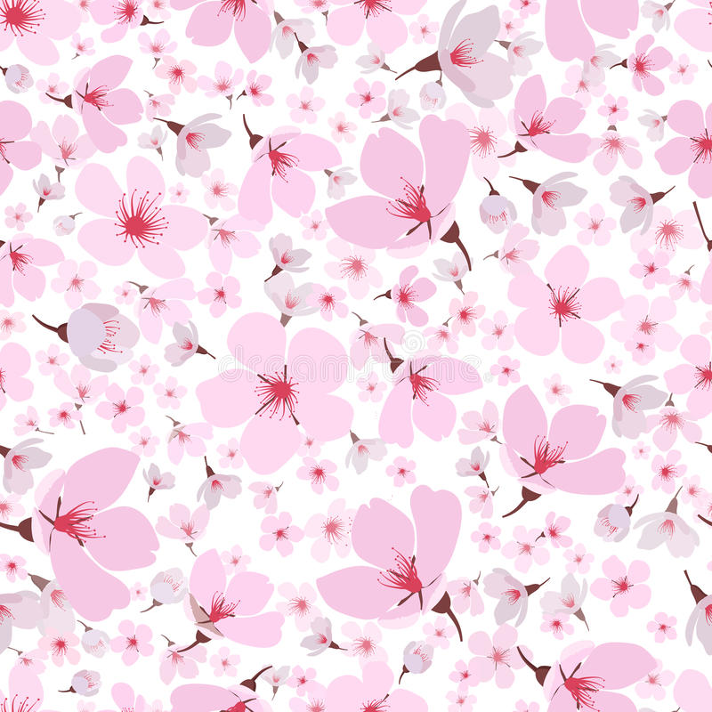 Naadloos patroon van de roze bloesem van de lentesakura vector illustratie