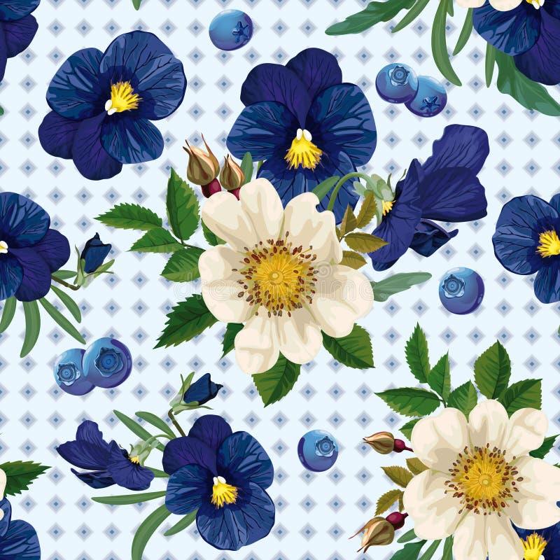Naadloos patroon van de rozen, pansies en blauwe berrie vector illustratie