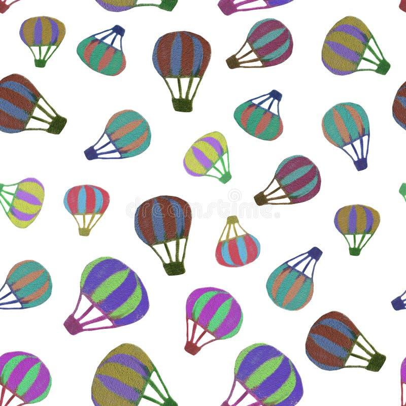 Naadloos patroon van de verschillende ballons van de grootte multi-colored hete lucht dat op witte transparante achtergrond in ho royalty-vrije stock afbeeldingen