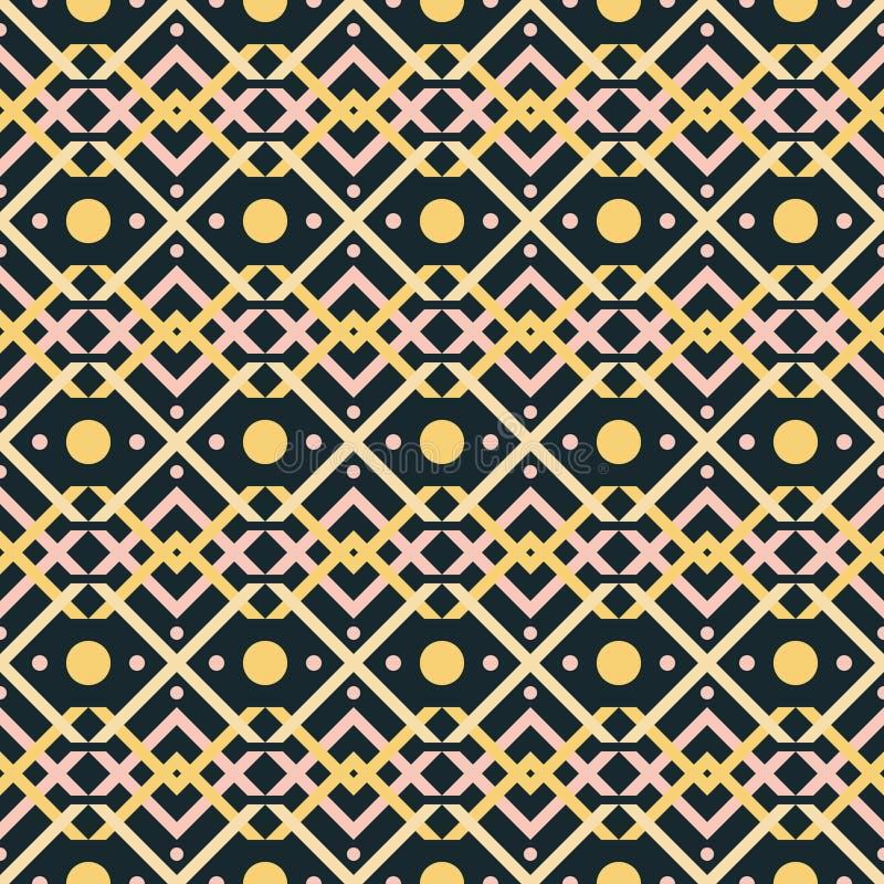 Naadloos patroon van de verweven vormen en de cirkels van V royalty-vrije illustratie