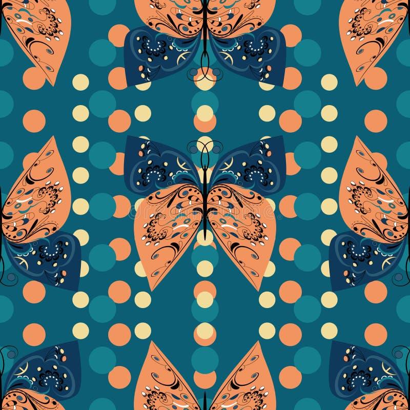 Naadloos patroon van decoratieve vlinders royalty-vrije illustratie