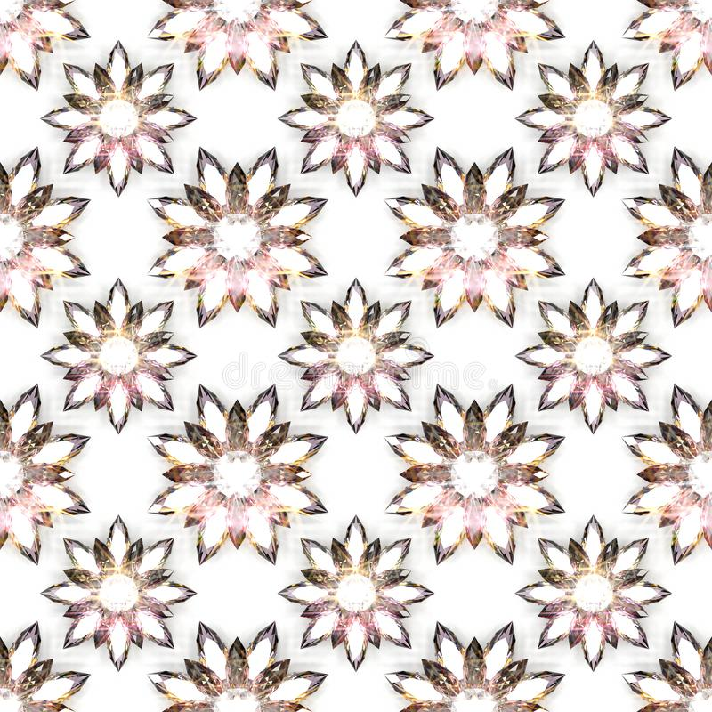 Naadloos patroon van diamantbloemen op witte achtergrond royalty-vrije illustratie