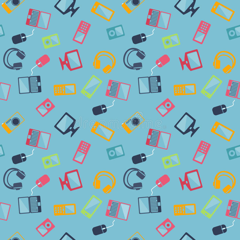 Naadloos patroon van digitale apparaten stock illustratie