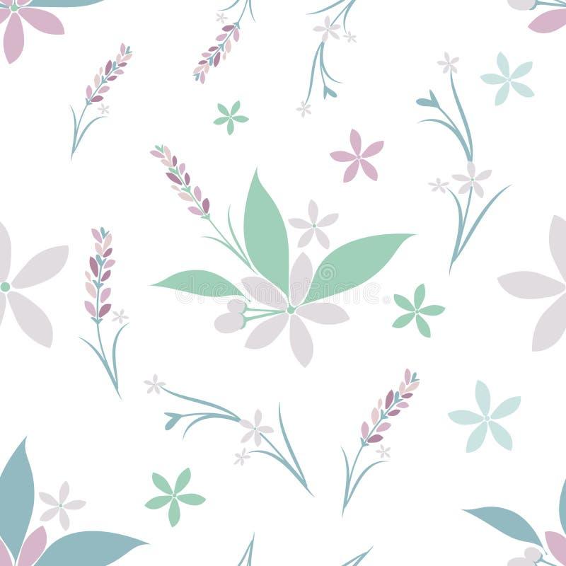 Naadloos patroon van diverse bloemen stock illustratie