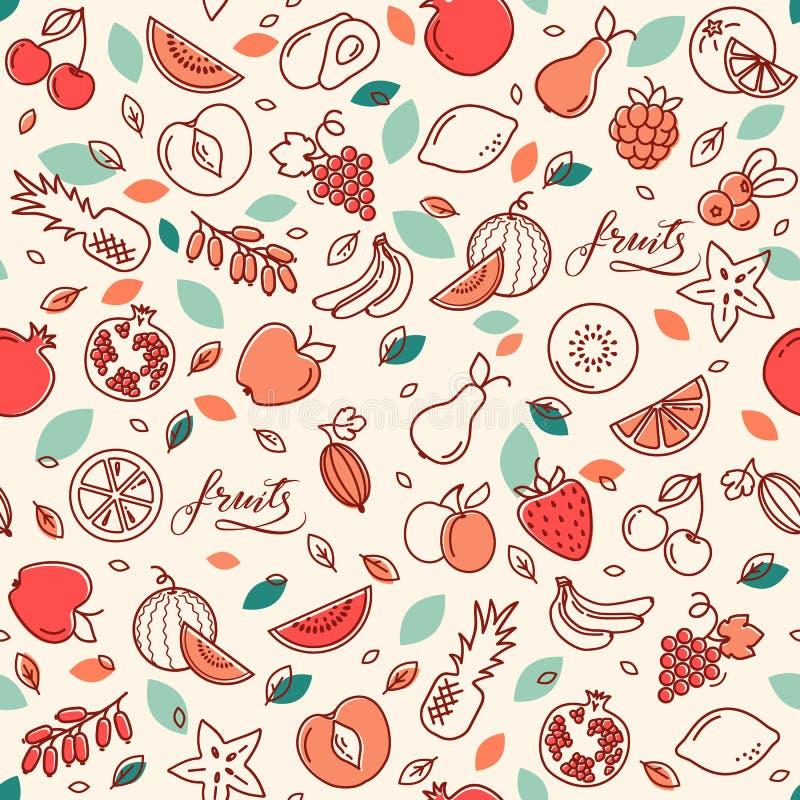 Naadloos patroon van diverse vectorvruchten Achtergrond met kleurenillustraties van vele vruchten royalty-vrije illustratie