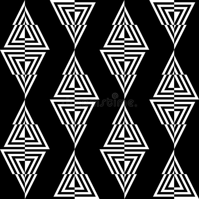Naadloos patroon van driehoeken op een zwarte achtergrond stock illustratie
