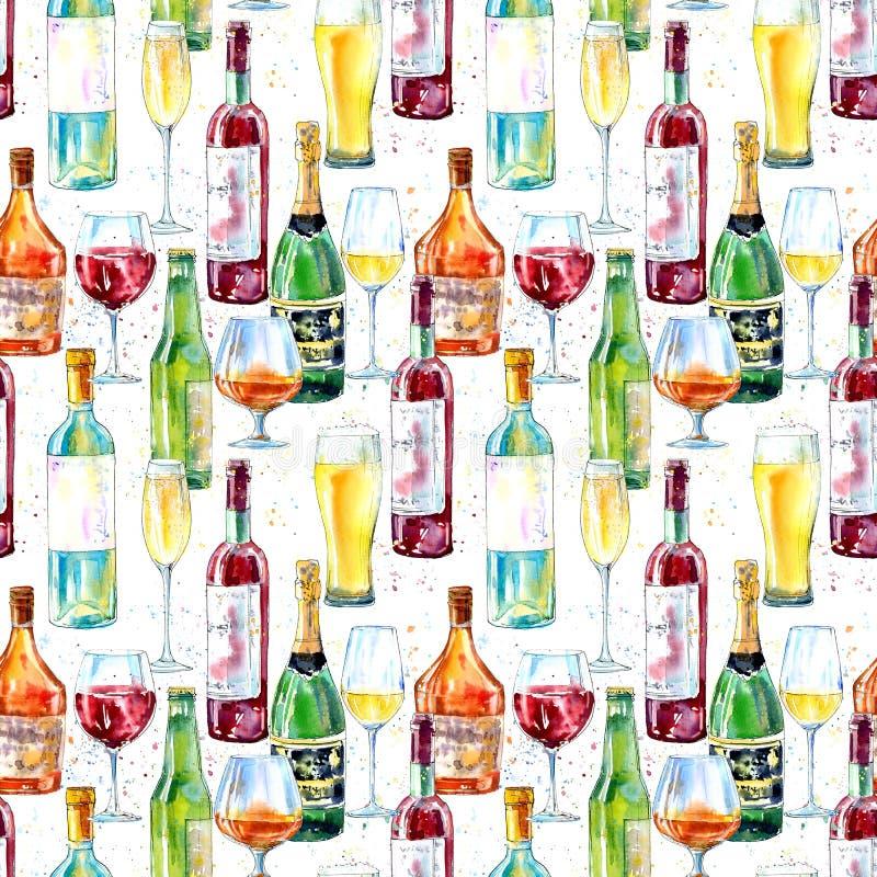 Naadloos patroon van een champagne, een cognac, een wijn, een bier en een glas royalty-vrije illustratie