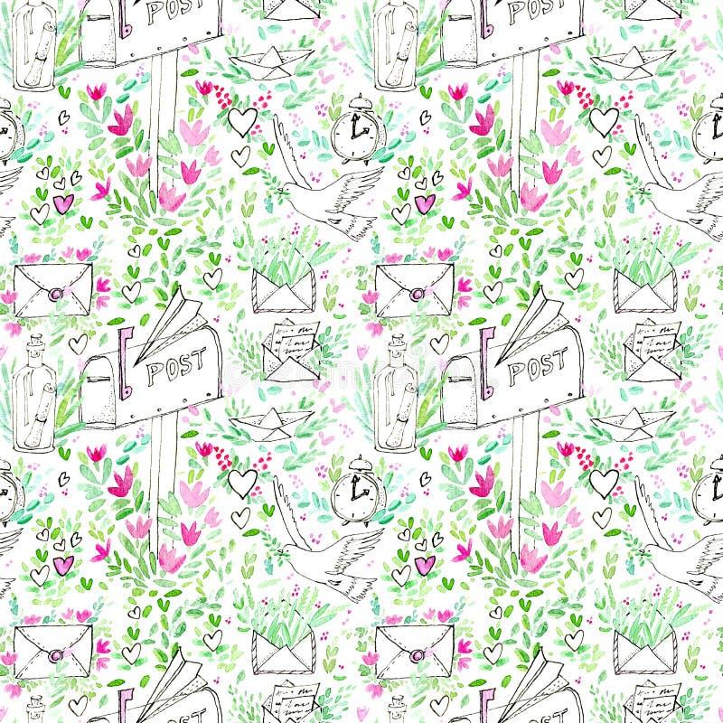 Naadloos patroon van een duif, klok, boot, envelop, vliegtuig, pakket, brief en bloemen vector illustratie