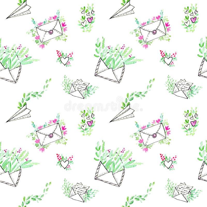 Naadloos patroon van een envelop, vliegtuig, pakket, brief en bloemen stock illustratie