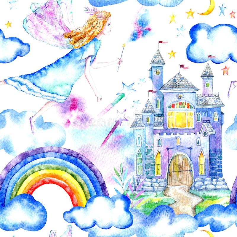 Naadloos patroon van een een fairytalekasteel, fee, sterren, wolken en regenboog vector illustratie