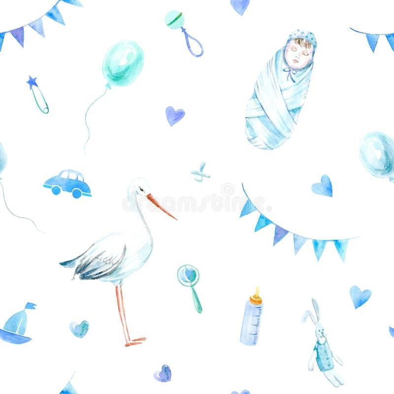 Naadloos patroon van een ooievaar, een babyjongen, speelgoed, beanbag en luchtballon stock illustratie