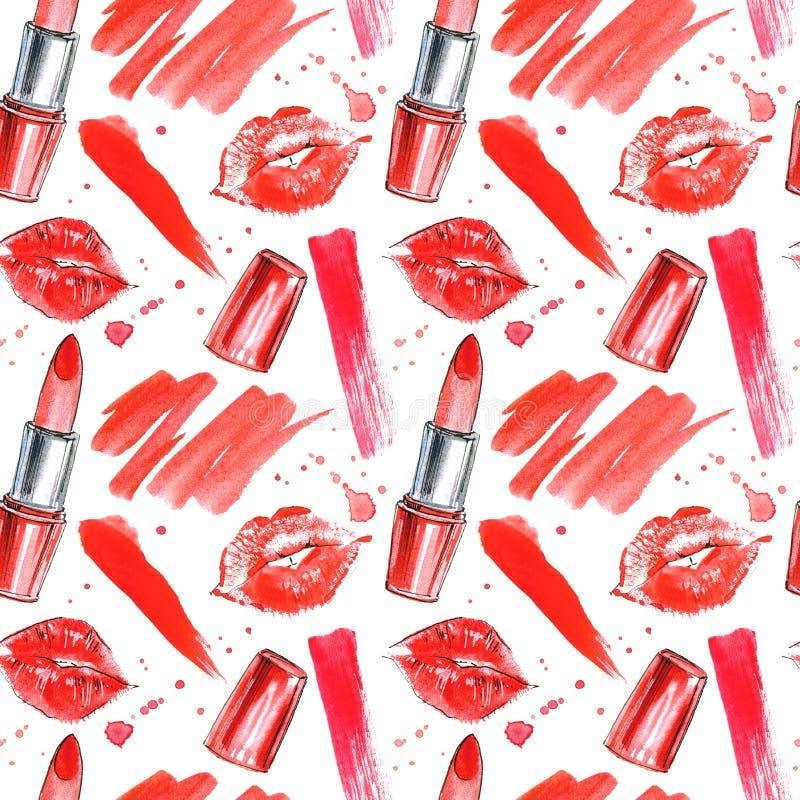 Naadloos patroon van een rode lippenstift, lippendrukken en plonsen stock illustratie