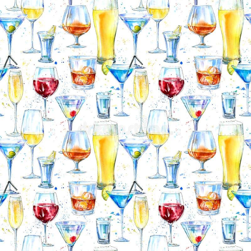 Naadloos patroon van een shampagne, een martini, een whisky, een wodka, een wijn, een alcoholische drank, een bier, een cognac en vector illustratie