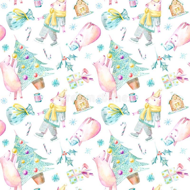 Naadloos patroon van een varken, een Kerstmisboom, een peperkoek, een zak en een gift vector illustratie
